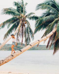 Instagrameuse sur un cocotier