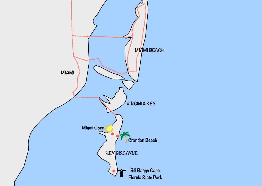 Que faire à Key Biscayne carte