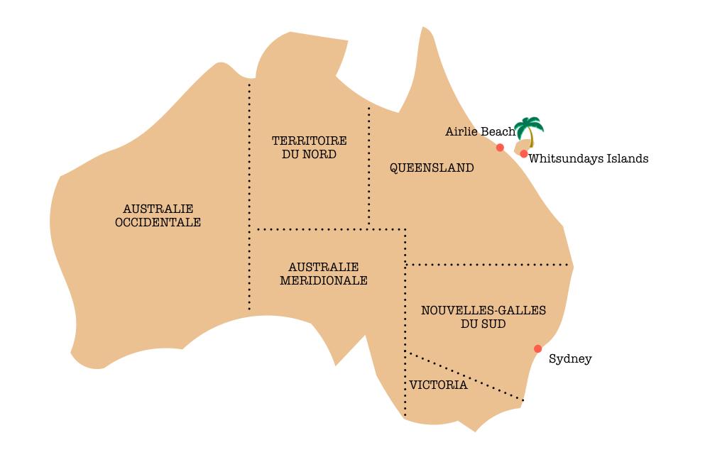 Carte des Whitsundays en Australie