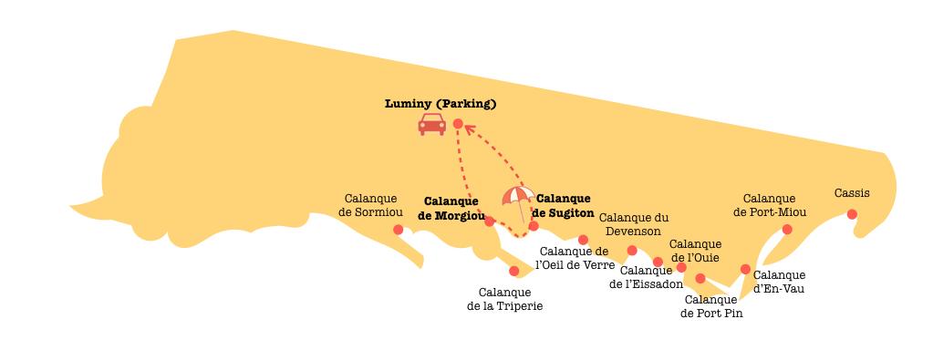 Carte randonnée dans les calanques de Cassis et Marseille