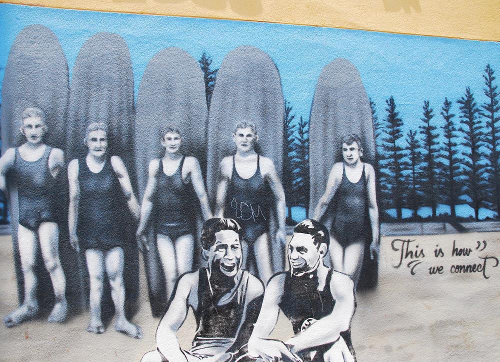 Peinture sur un mur de Manly Beach