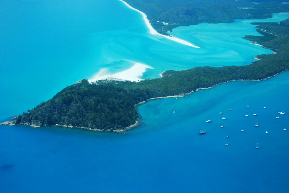 Survol de la Grande Barrière de Corail dans les Whitsundays