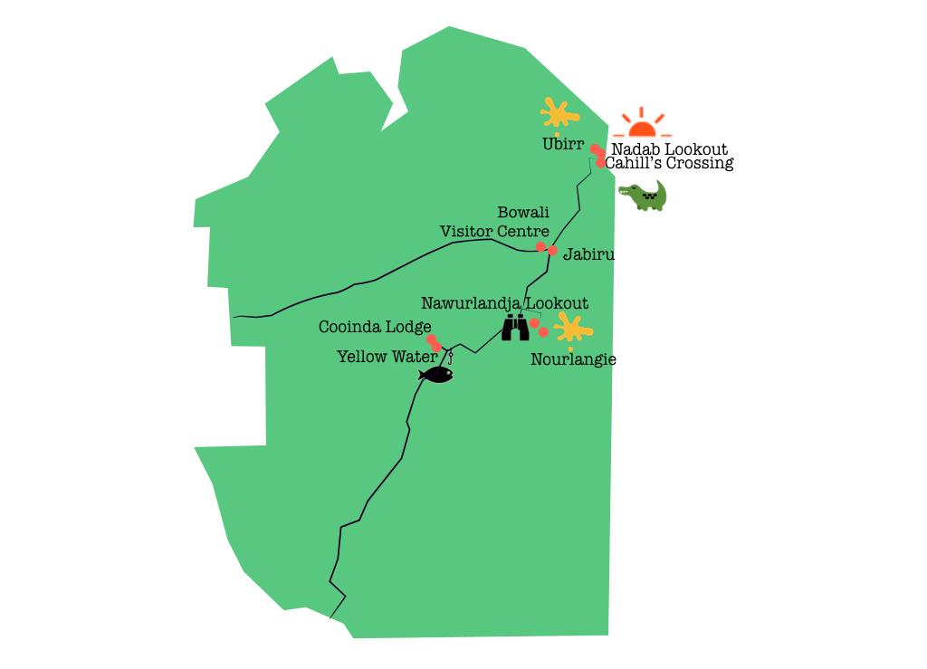 Carte des 6 choses à faire dans le parc de Kakadu