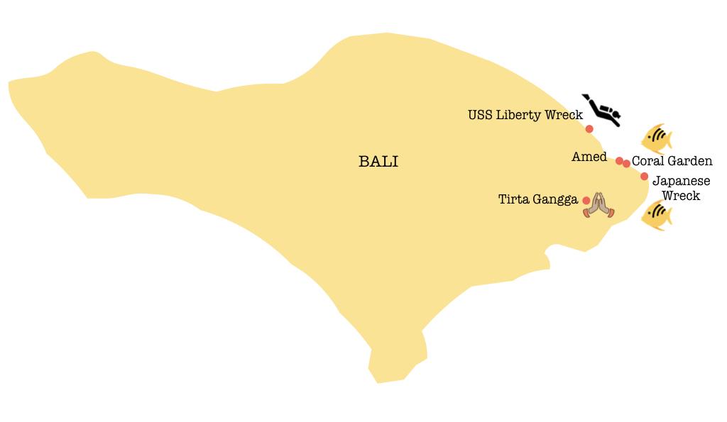 Carte de que faire à Amed Bali