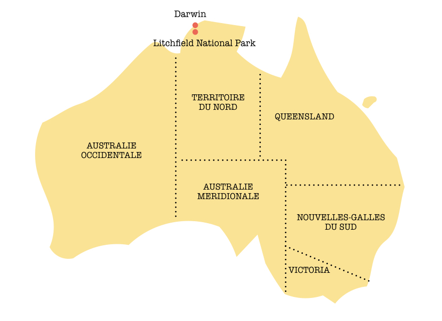 Carte d'Australie : parc national de Litchfield