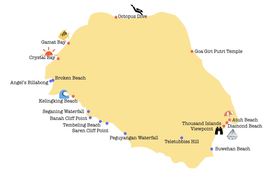 Carte des points d'intérêt de Nusa Penida